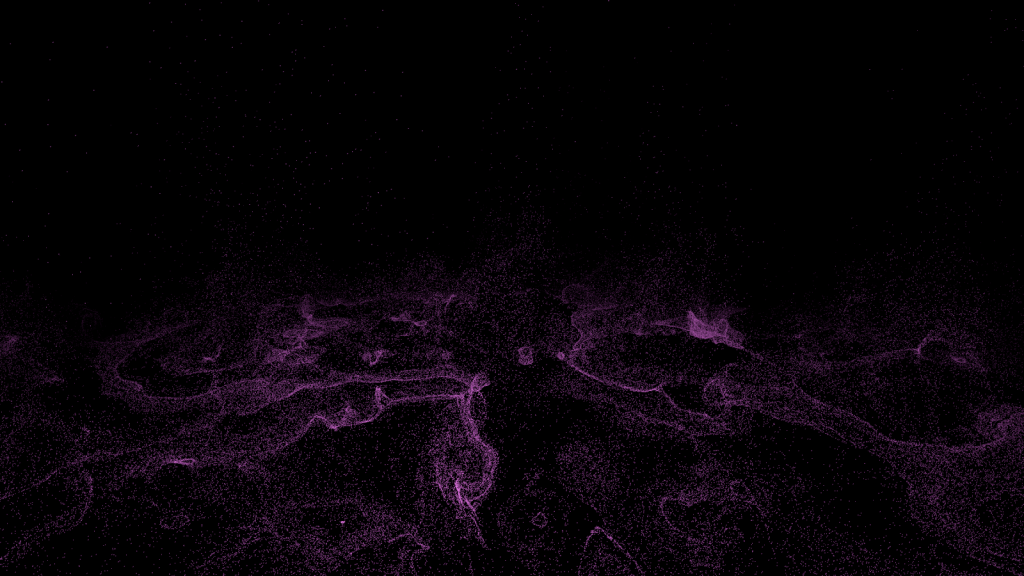 A field of particles snaking their way through space, viewed at a distance.