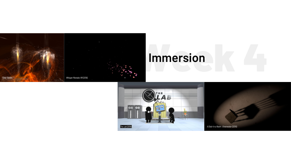 "Preview slide of ""Week 4: Immersion"", featuring Valve's ""The Lab"", Char Davies's ""Ephémère"", ""A Chair in the Room: Greenwater"", and ""Whisper Momoka""."